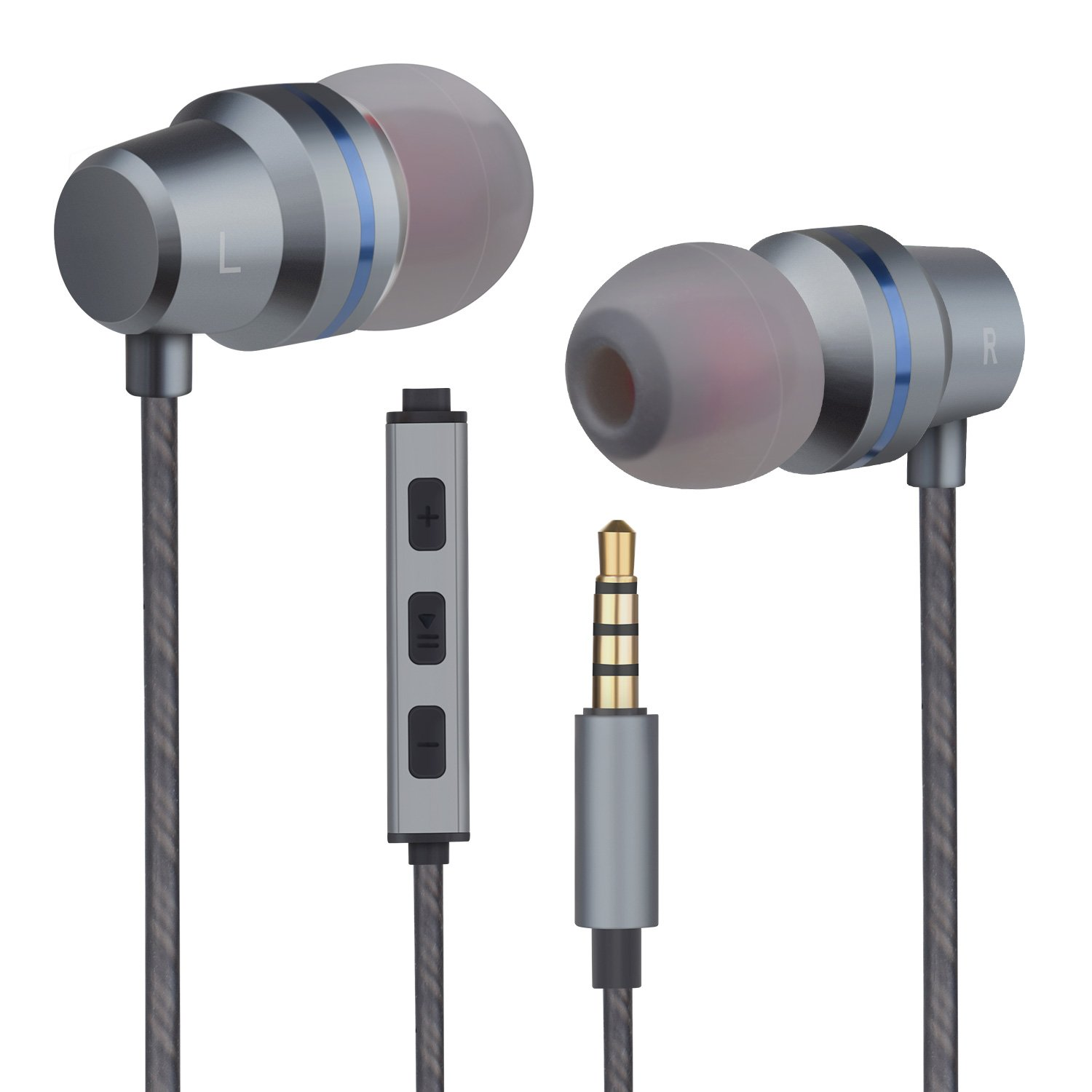 Earbuds Headphones with Microphone Mic Stereo Volume Control Wired Earphones In-Ear Noise-Isolating Ear Buds for iPhone iPod iPad Samsung Android Galaxy LG HTC Mp3 Players Tablet Laptop 3.5mm Audio