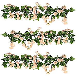 YILIYAJIA 3PCS Artificial Rose Garlands Silk Fake Rose Flowers Green Leaves Vine for Home Hotel Office Wedding Party Garden Craft Art Decor (Pink) 64