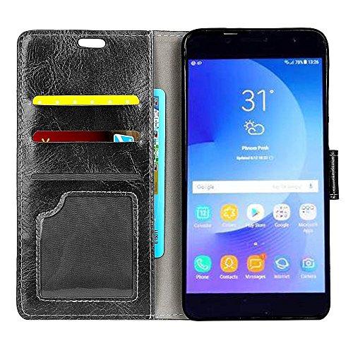 XIAOGUA Cases & Covers, Para Samsung Galaxy C7 (2017) Funda protectora de cuero de la PU contraportada con soporte y ranuras para tarjetas y billetera ( Color : Brown ) Black
