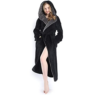 bf3e96d329 Hooded Women s Black Color Soft Spa Long Kimono Bathrobe With Grey Shawl  Collar For Comfy Sleepwear