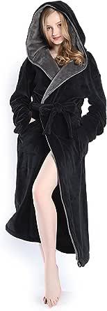 KEMUSI Hooded Herringbone Full Length Women's Soft Spa Bathrobe with Shawl Collar