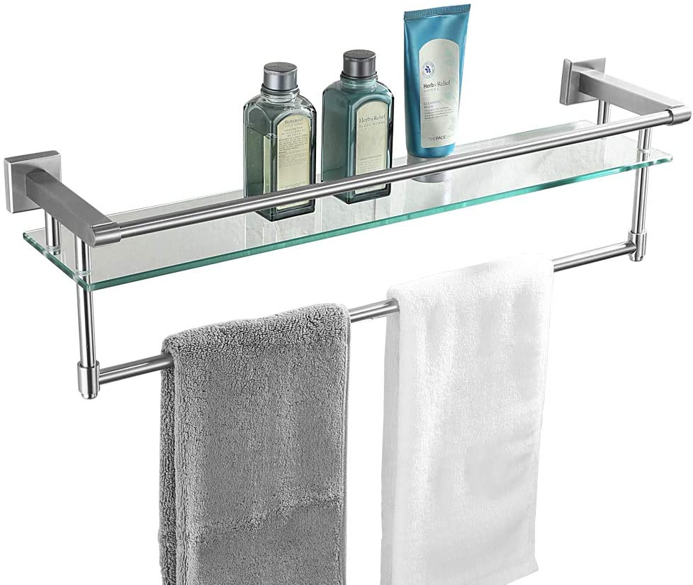 Amazon Com Jqk Bathroom Glass Shelf Stainless Steel Large Towel Rack With 24 Inch Bar Towel Holder Brushed Wall Mount Home Kitchen