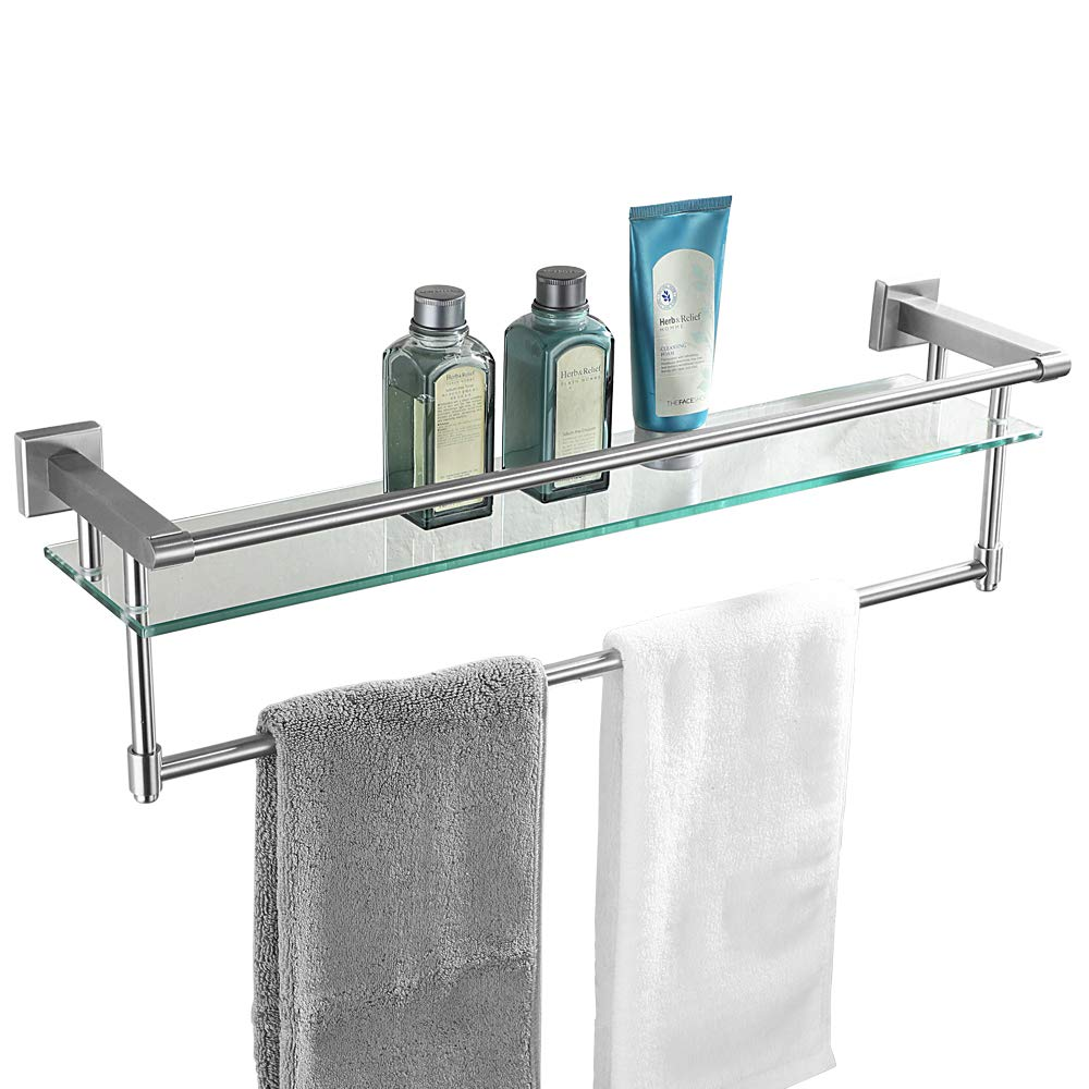 JQK Bathroom Glass Shelf, Stainless Steel Large Towel Rack with 24 Inch Bar, Towel Holder Brushed Wall Mount by JQK