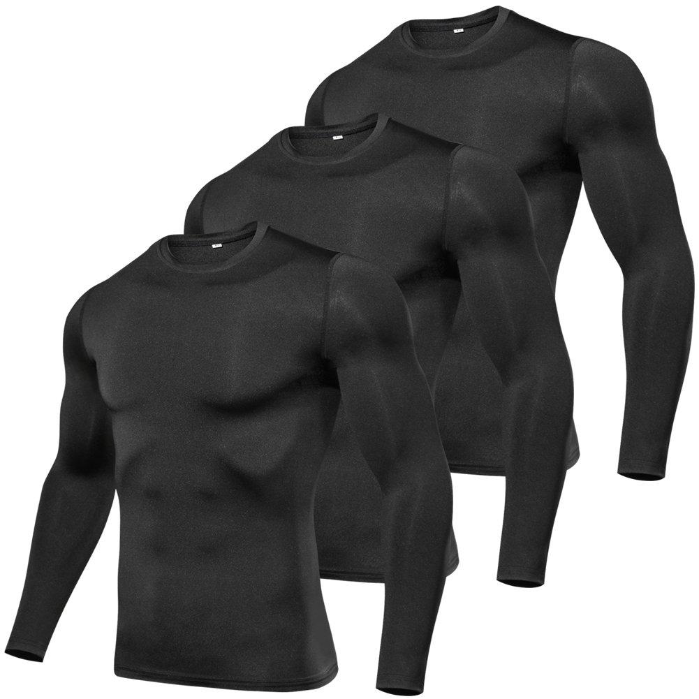 laventoメンズCool Dry圧縮ベースレイヤークルーネック長袖Running Shirts m3612 B07DJ9G422 3 Pack-3612 Black Large Large|3 Pack-3612 Black