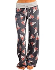 CakeLY Women's Comfy Stretch Floral Print Drawstring Palazzo Wide Leg Lounge Pants