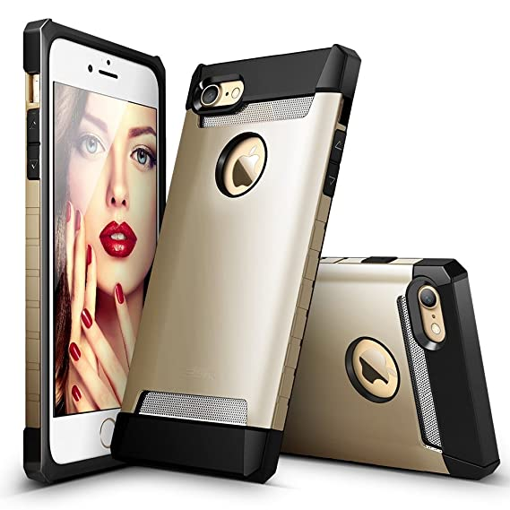 quality design 7b6f5 8e52d iPhone 7 Case, ESR Hybrid Heavy Duty Shockproof Protective Case Cover  [Metal Design] [Matte Silicone Back + Thickened TPU Bumper] for Apple  iPhone 7 ...