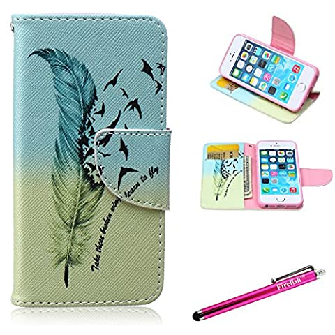 iPhone 5 Case,5S SE Firefish iPhone 5 Leather Wallet [Bumper] [Kickstand] Lightweight Built-in TPU Double Protection Flap Cover for Apple iPhone 5/5S/SE - (Eiffel Tower Dvd Tower)