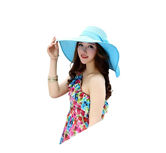 03500f51 Broadmix Women's Wide Brim Hat Foldable Floppy Beachwear Sun Hat With Big  Bowknot