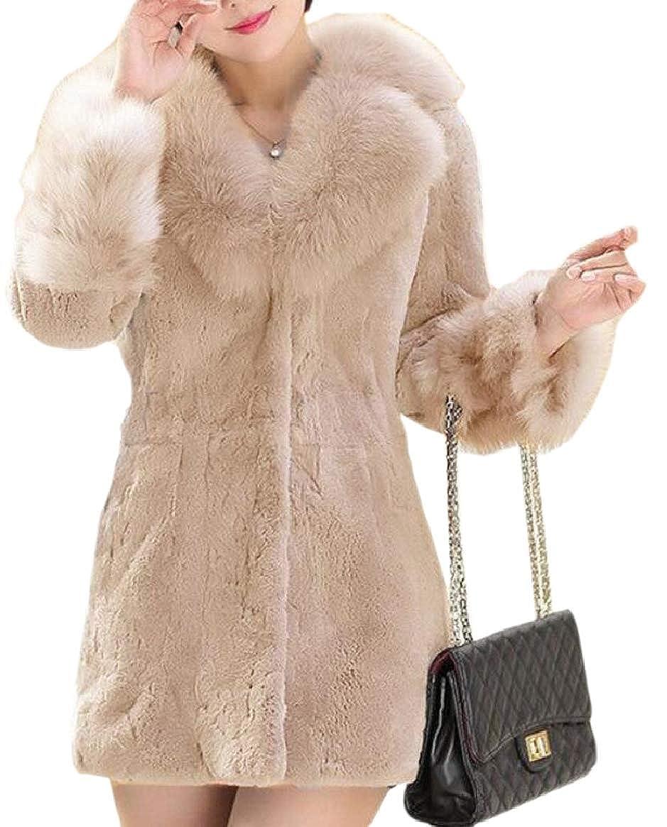 Apricot pujinggeCA Women Solid color Warm Fall Winter Fuzzy Faux Fur Coat Jacket Outerwear