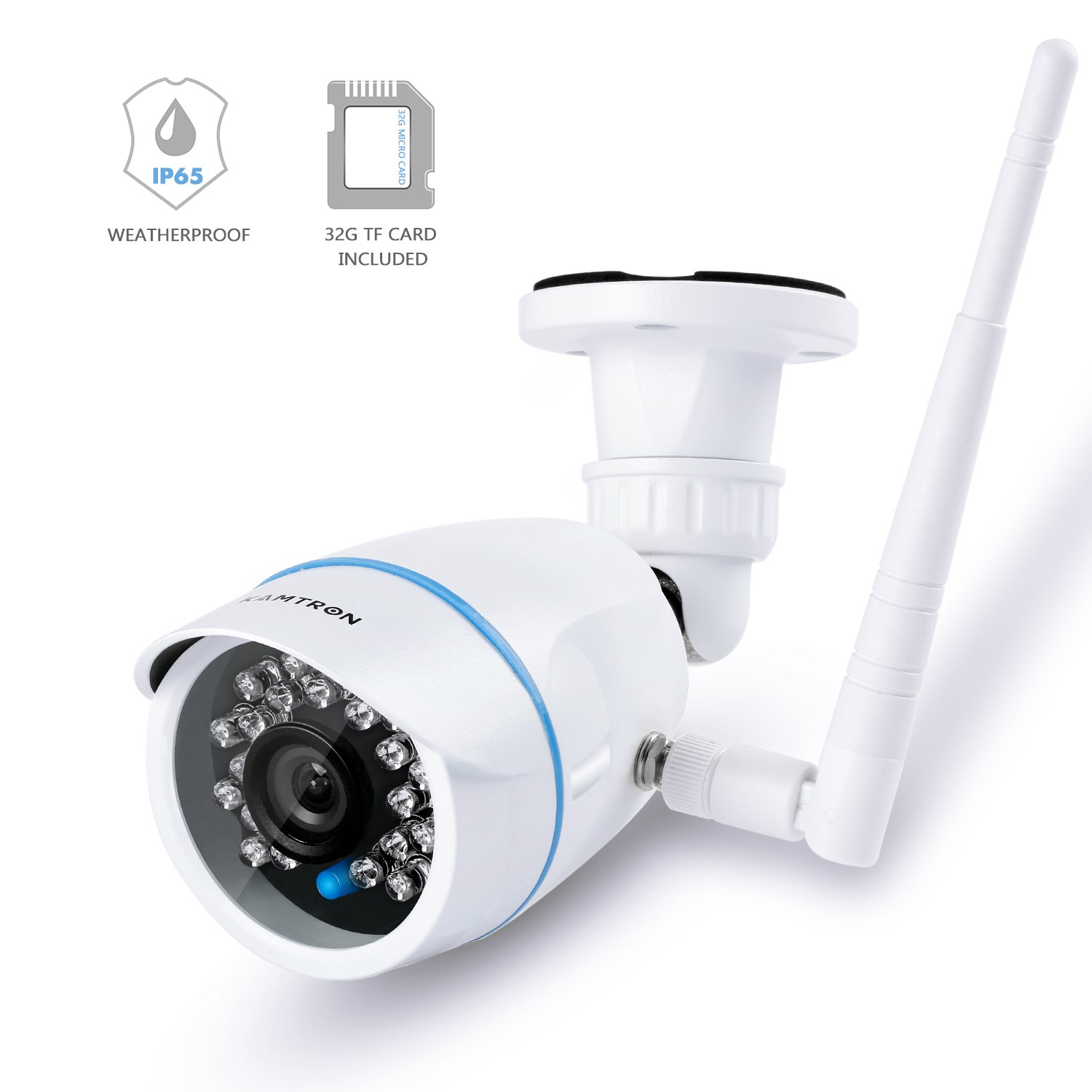 KAMTRON Wireless Security Camera,Outdoor WiFi Surveillance Camera for Home 32G TF Card Included IP65 Weatherproof
