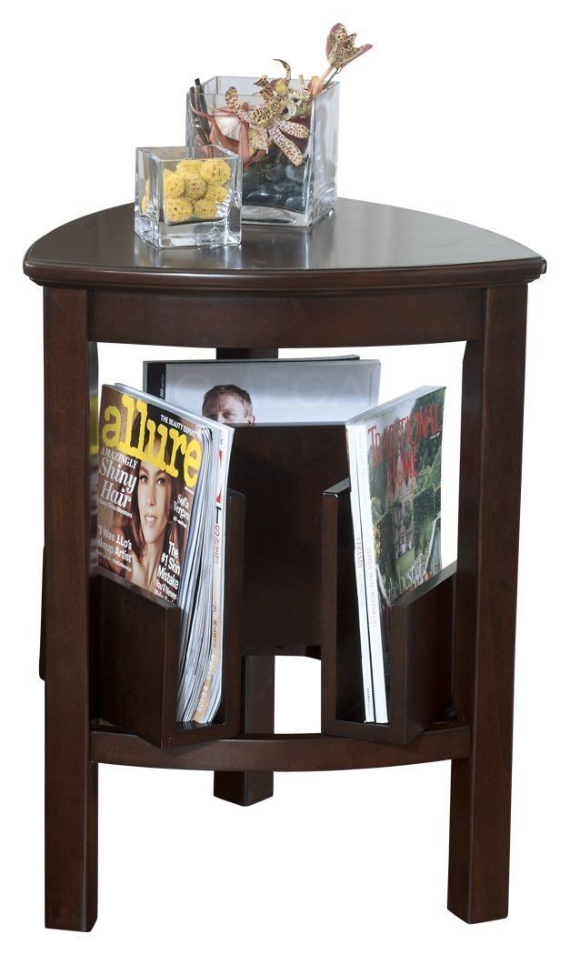 Ashley Furniture T654-6 Triangle End Table, Dark Brown Finish