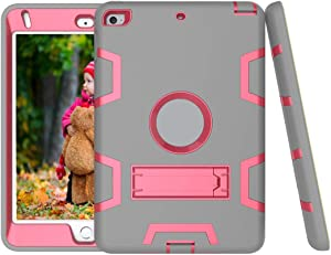 SZCINSEN Shockproof Heavy-Duty Rubber High-Strength Sturdy and Durable Hybrid Three-Layer Full Body Protective Case for iPad mini4/mini5 Built-in Shockproof Support (Color : Grey+ROSRED)