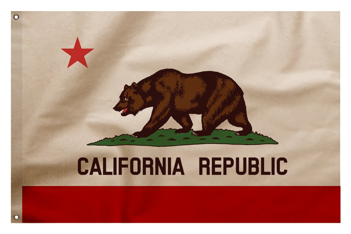 Vintage Style Cotton, Stitched, California Republic Bear State Flag, New, Made in USA (3' x 4.5')