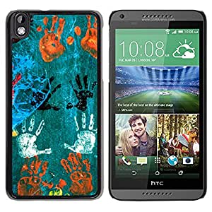 MOBMART Carcasa Funda Case Cover Armor Shell PARA HTC DESIRE 816 - Hand Prints In Different Colors