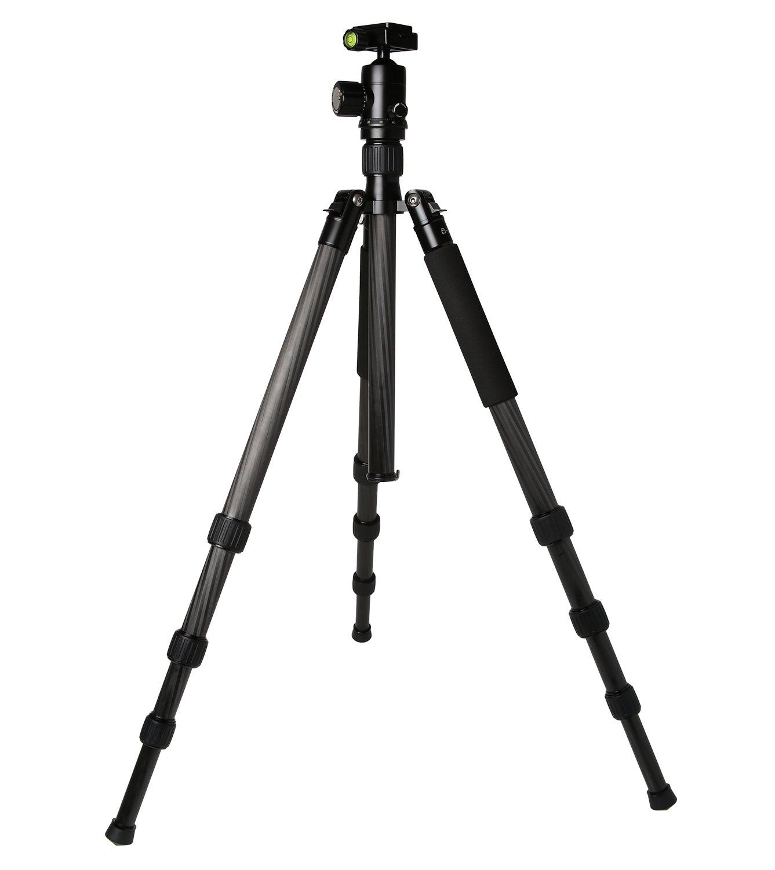 Caltarプロフェッショナル写真 – ビデオ頑丈軽量カーボンファイバー三脚一脚キットボールヘッド(ブラック)フリーケース   B01IA8HNIA