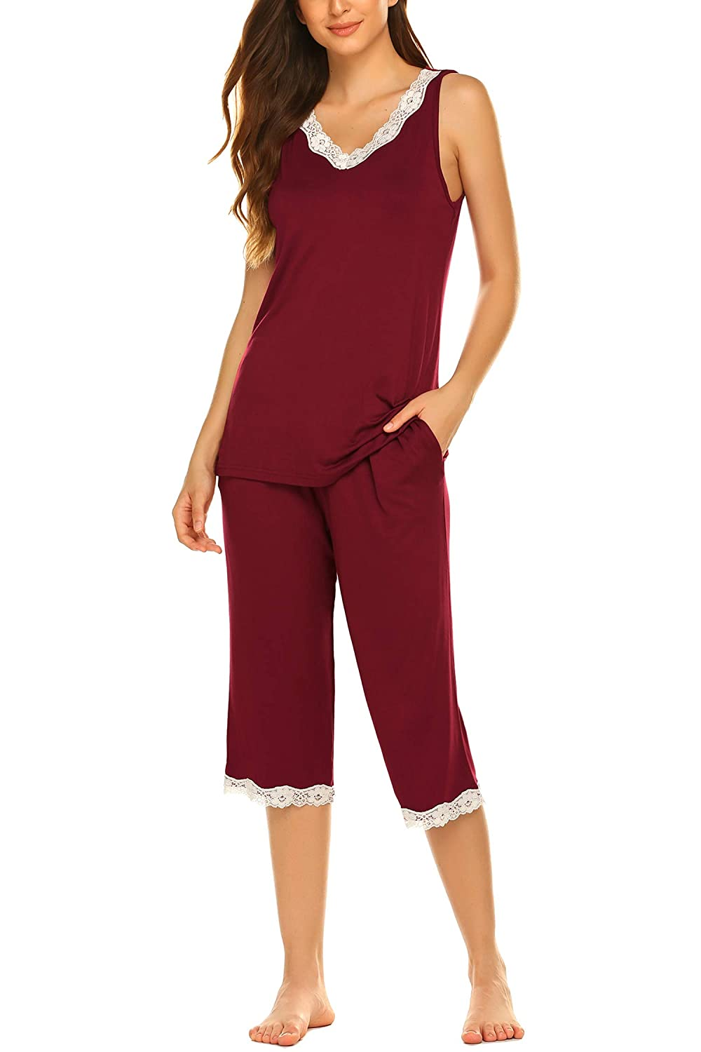 Hotouch Women's Pajama Set Lace Trim V-Neck Tank Top & Capri Pants Sleepwear Pjs Sets
