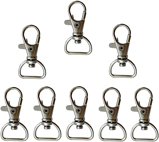 SUPVOX 20pcs Swivel Snap Hooks Metal D Ring Pet Buckle Leashes Key Chain Swivel Clasps Lanyard for Hardware Bags DIY Accessories Black