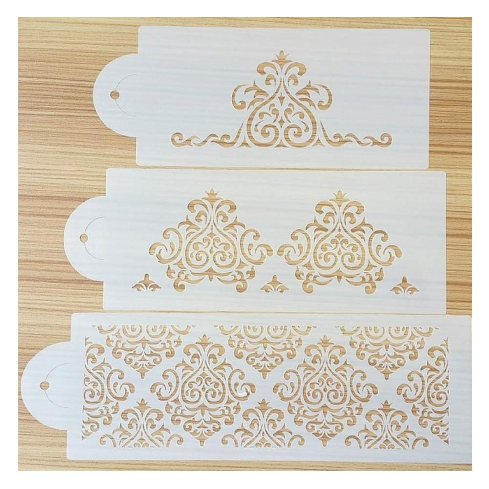 Cake Stencils, DIY Cookie Practical Lace Flower Cake Cookie Fondant Side Baking Stencil Wedding Decorating Tool,5Pcs by Cake Stencils (Image #6)