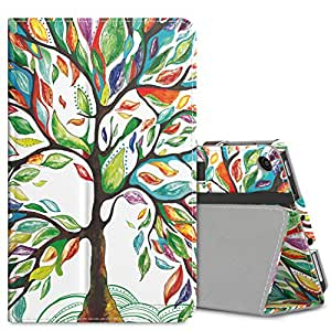 MoKo Case for All-New Amazon Fire 7 Tablet (7th Generation, 2017 Release Only) - Slim Folding Stand Cover Case for Fire 7, Lucky TREE (with Auto Wake / Sleep)