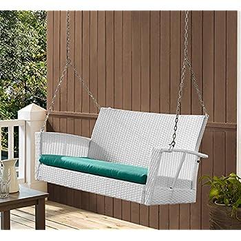 Amazon Com Coral Coast Soho Wicker Porch Swing White