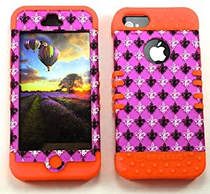 SHOCKPROOF HYBRID CELL PHONE COVER PROTECTOR FACEPLATE HARD CASE AND ORANGE SKIN WITH STYLUS PEN. KOOL KASE ROCKER FOR APPLE IPHONE 5 5S SAINTS FLEUR OR-TE442-S