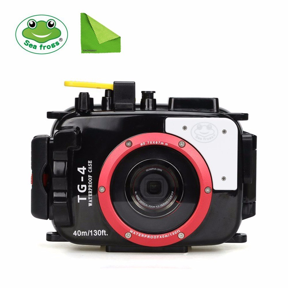 Seafrogs 60M Underwater Diving Waterproof Camera case for Olympus TG4 w/ EACHSHOT Cleaning Cloth