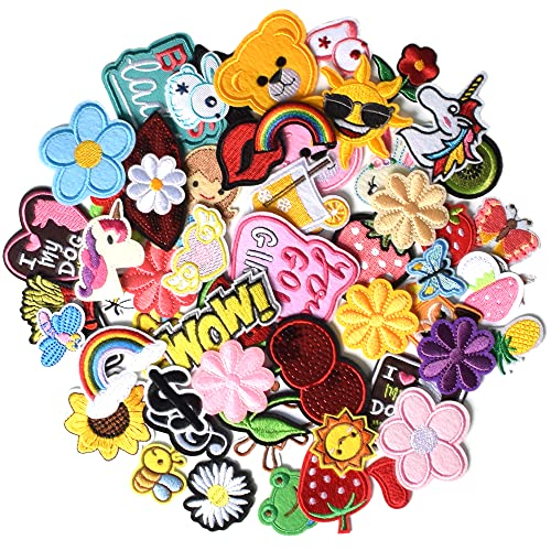 J.CARP 60Pcs Random Assorted Iron on Patches, Cute Sewing Applique for Jackets, Hats, Backpacks, Jeans, DIY Accessories, Style 2