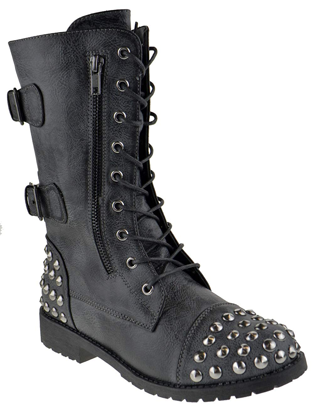 Nature Breeze Harley 21 Womens Distressed Military Studded Combat Boots Black 9