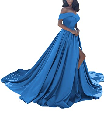 SHYijia Womens Off Shoulder Satin Long Split Prom Formal Evening Homecoming Dress A Line Size 2