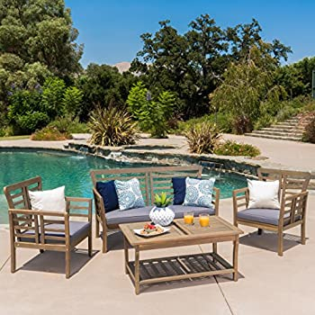 Louis Patio Furniture | 4 Piece Outdoor Chat Set | Acacia Wood With Grey  Finish | Water Resistant Cushions In Dark Grey