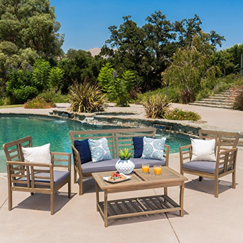 Louis Patio Furniture | 4 Piece Outdoor Chat Set | Acacia Wood with Grey Finish | Water Resistant Cushions in Dark Grey Acacia Outdoor Furniture