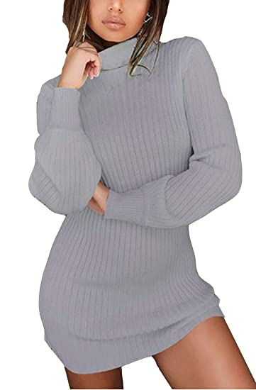 f6c19953ade WentShopping Women Long Sleeve Cowl Neck Trim Knitted Bodycon Dresses  Knitwear at Amazon Women's Clothing store: