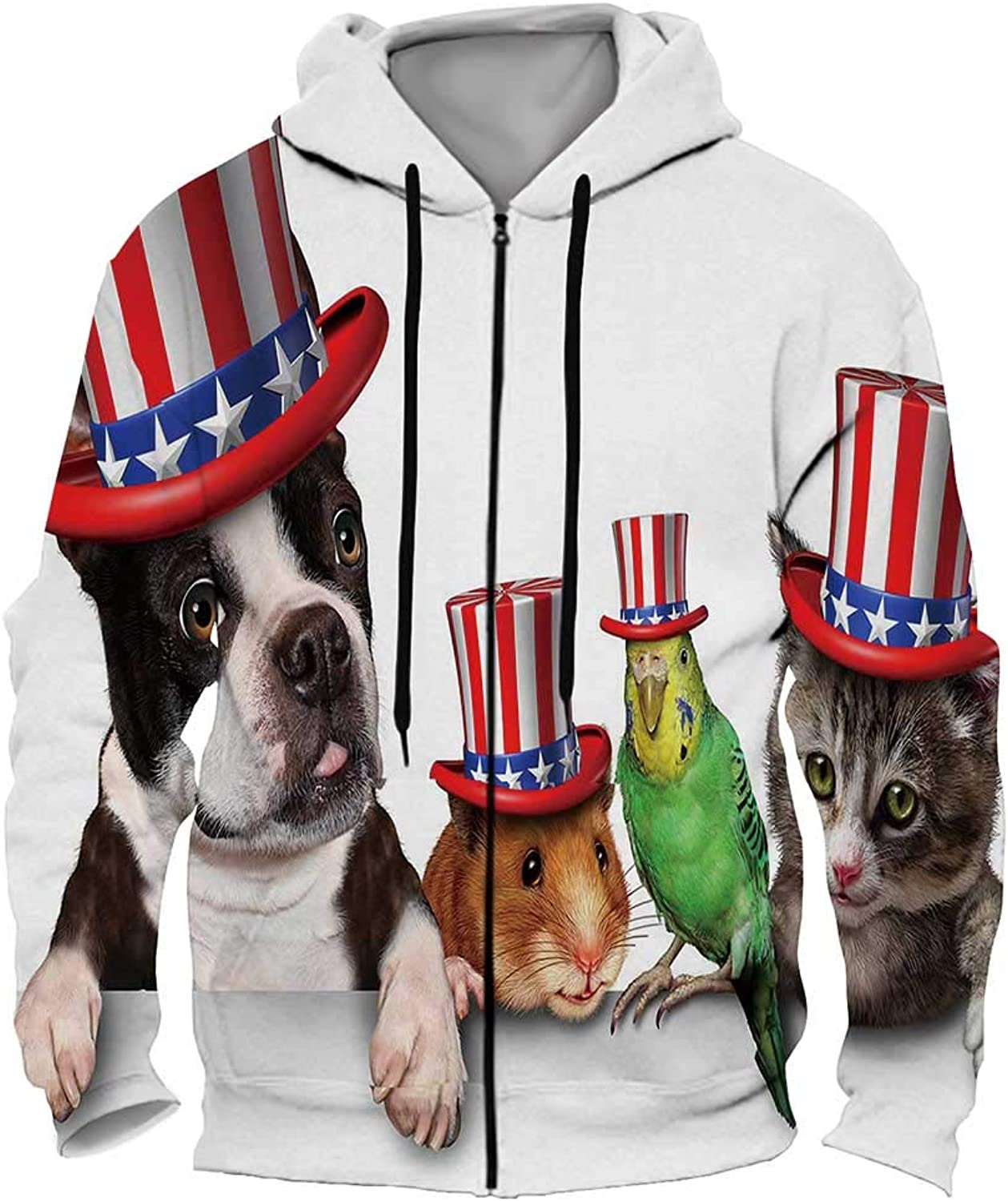 Day Pets Celebrating The United States Fourth of July Holiday with a Dog cat Bird and Hamster Wearin