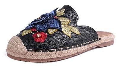 SHOWHOW Damen Geschlossen Blume Espadrilles Sommerschuh Sandalen