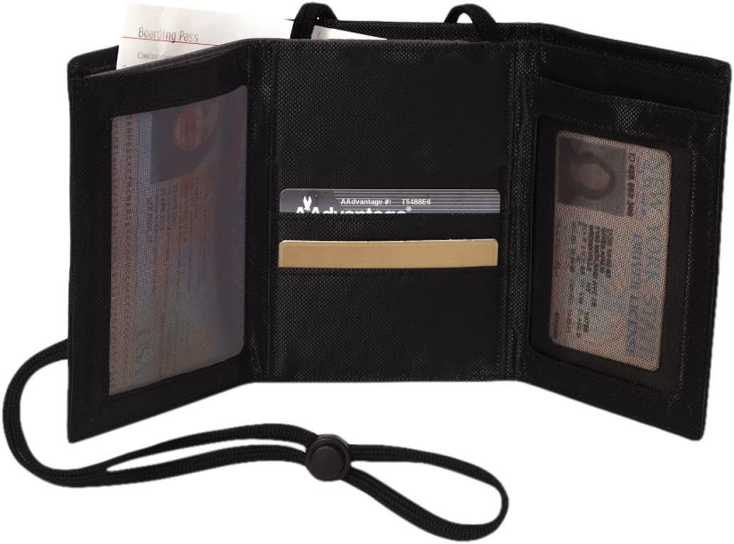 Swiss Gear RFID Protection Airport Id and Ticket Wallet Tri-fold Wallet Opens Quickly to Display ID at Airport Check-ins and Security Screenings