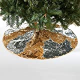 Gold & Silver Reversible Sequin Christmas Tree Skirt