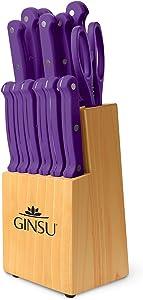"Ginsu KIS-PU-DS-014-2 Kiso Dishwasher Safe Purple 14 Piece Set Natural Block, 9""W x 15""H x 5""D,"