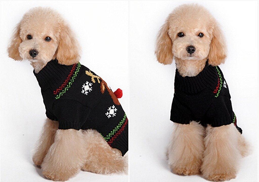 nalmatoionme cachorro Tiny Pequeño perro Navidad suéter patrón reno ...