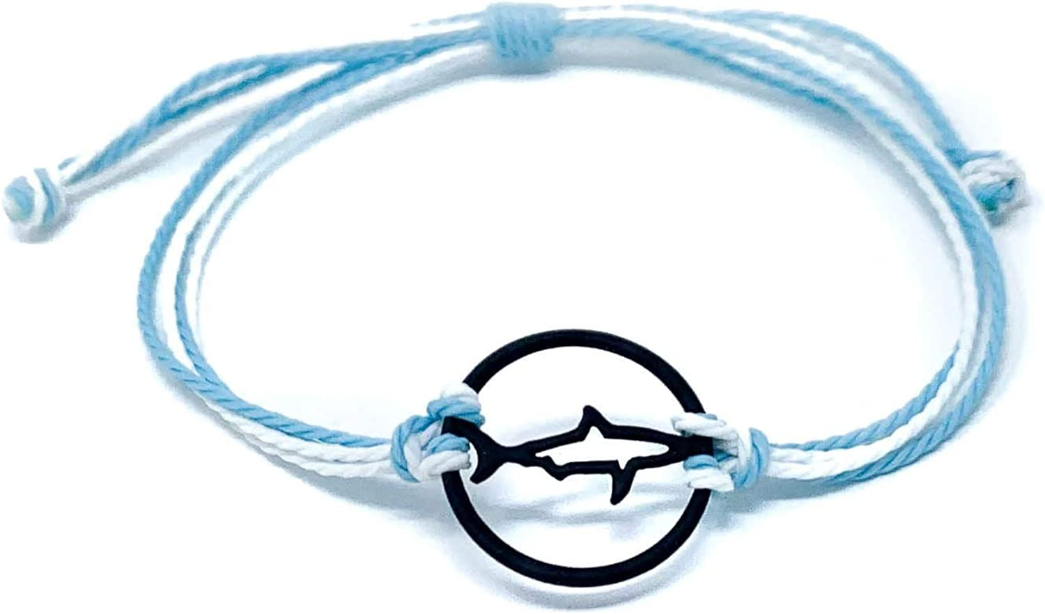 Charming Shark Jewelry - Unisex Charm Ankle Bracelets Black Dolphin Silhouette Adjustable Draw String Band - Waterproof Fashionable Lobster Chain Clasp Perfect for Men Women