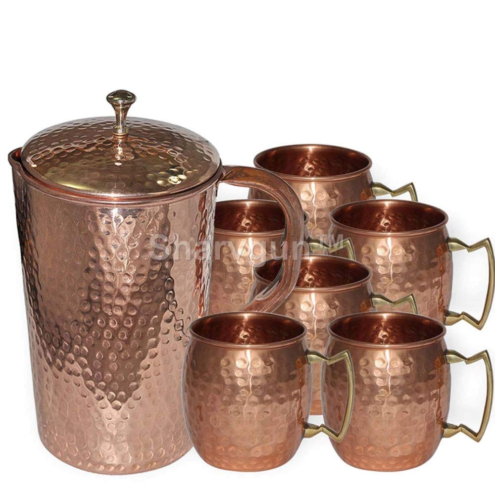 Sharvgun Handmade 100% Pure Copper Hammered Jug With 6 Pure Copper Hammered Moscow Mule Mug Set