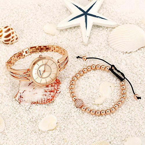 ETEVON Women's Rose Gold-Tone Analog Quartz Water Resistant Bangle Watch and Copper Bead Bracelet Set Jewelry Diamond Dial Classic Luxury Fashion Gift for Ladies