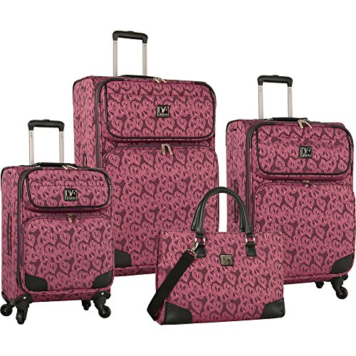 Diane Von Furstenberg Hearts Jacquard 4 Piece Luggage Set, Beet Purple