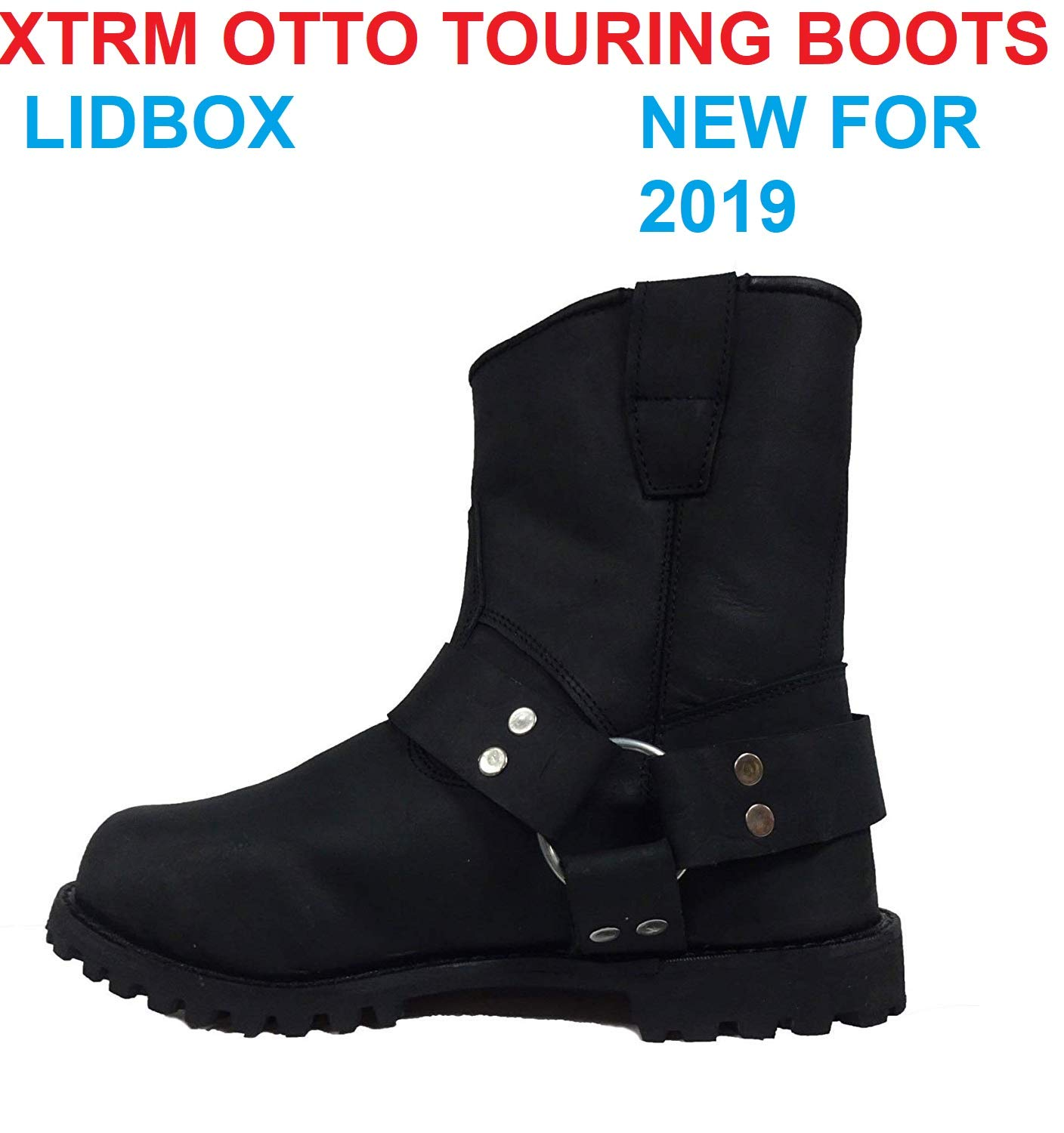 XTRM Adult Touring Otto Motorcycle Short Leather Boots New for 2019 Classic Harness Biker Boots for Men and Women