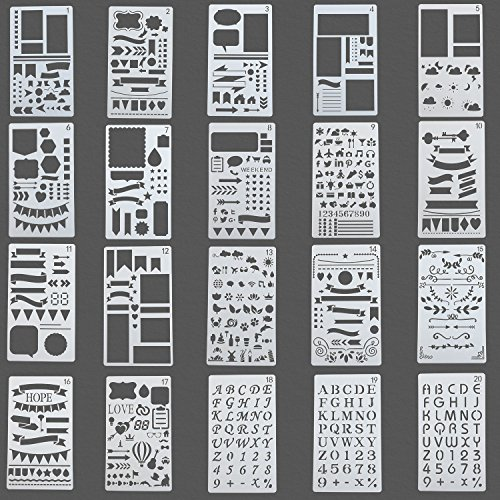 Large Product Image of JARLINK Bullet Journal Stencil Kit 12 Colored Pens and 20 Stencils, Plastic Planner Bullet Journal Notebook Diary Scrapbook Supplies 4x7 inches DIY Drawing Templates