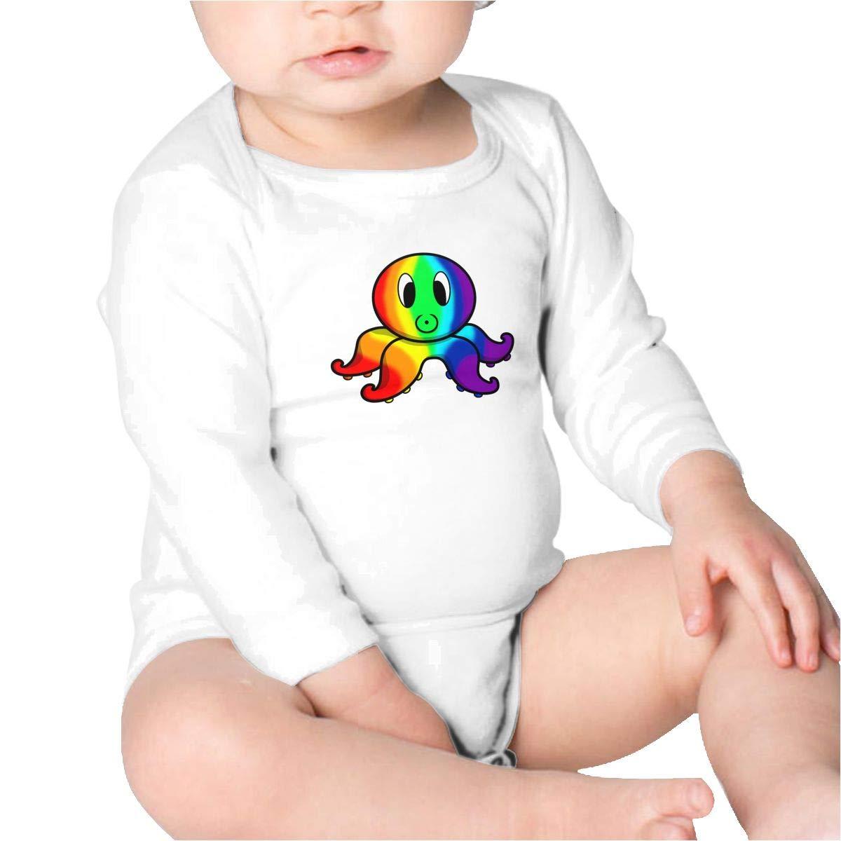 Pikaqiuleilei LGBT Pride Rainbow Octopus Kids Cotton,Long Sleeve Infantile Suit