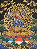 Dharmaraja Yama with Yami (Tibetan Buddhist) - Tibetan Thangka Painting