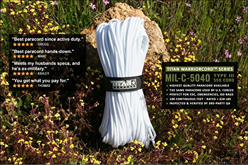 Titan WarriorCord   White   103 Continuous FEET   Exceeds Authentic MIL-C-5040, Type III 550 Paracord Standards. 7 Strand, 5/32'' (4mm) Diameter, Military Parachute Cord. by Titan Paracord (Image #3)