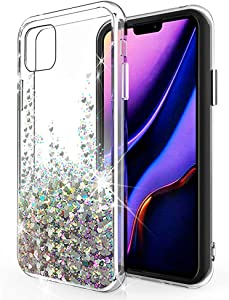 SunStory Designed for iPhone 11 Case,Luxury Fashion with Moving Shiny Quicksand Glitter and Double Protection with PC Layer and TPU Bumper Case for iPhone 11 (6.1 Inch) Phone (Silver)