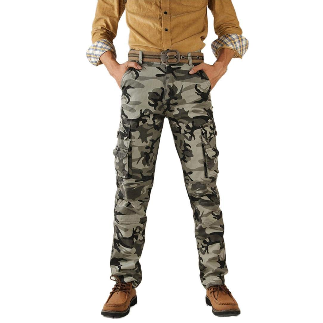 Realdo Hot!Clearance Sale Mens Daily Casual Camouflage Military Outdoors Work Trousers Sport Cargo Pants(29,Gray)