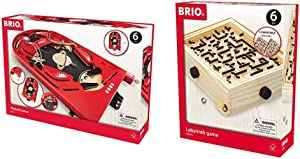 BRIO 34017 Pinball Game | A Classic Vintage, Arcade Style Tabletop Game for Kids and Adults Ages 6 and Up,Red & Labyrinth Game | A Classic Favorite for Kids Age 6 and Up with Over 3 Million Sold